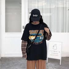 <b>NiceMix</b> Spring Harajuku T-shirt Women Patchwork Fake <b>2 Pieces</b> ...