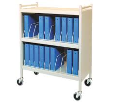 Medical Chart Carts With Vertical Racks Rhino Tuff Mobile Chart Rack 20 Space Binder Storage Cart