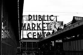 downtown seattle pikes place market city fine art photograph 8x8
