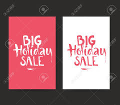 Banner Or Flyer Template With Handdrawn Lettering Big Holiday