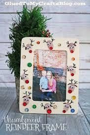 Christmas Photo Frames For Kids Thumbprint Reindeer Frame Christmas Crafts For Kids