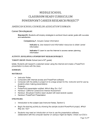 How To Do A Presentation Outline Middle School Career Research Project Powerpoint