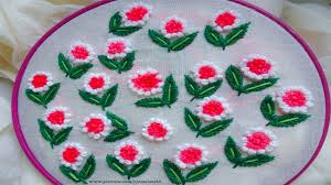 French Knot Stitch Designs Hand Embroidery For Dress French Knot And Running Stitch Flower Design