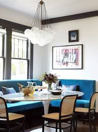 16 rooms doing blue white diffely pedestal dining tablekitchen