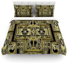 nika martinez golden art deco cotton duvet cover twin
