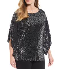 Msk Dresses Size Chart Chelsea Theodore Plus Size Allover Metallic Sequin 3 4 Handkerchief Sleeve Top With Side Slits