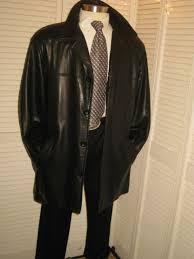 bostonian mens black leather sport coat jacket blazer xl 6