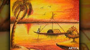 how to paint sunset scenery with oil pastel