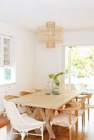 natural textures woven chairs and a rattan pendant light