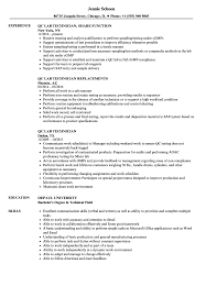Lab Technician Resume Sample QC Lab Technician Resume Samples Velvet Jobs 79