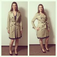 love the coat with a k of polka dots and heels tall trench coat from banana republic