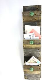 personalized mail organizer reclaimed wood wall hanging entry organizer go green rustic 3 bin mail sorter 9301