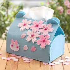 Tissue Box Decoration Ideas Diy crafts romantic Sakura blue Tissue Box ideas home decor 2