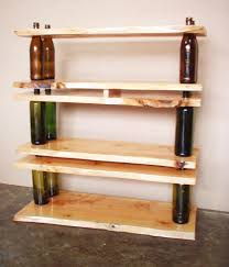 wood decorations for furniture. Decorations. Creative Shelf Furniture Ideas Featuring Natural Wood 3-levels With Bottle Side Decorations For P