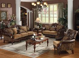 Living Room Sets Nyc Dreena Traditional Bonded Leather And Chenille Living Room Set