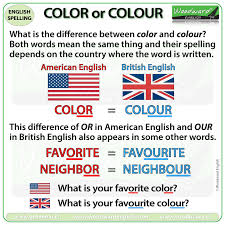 Favorite Color Chart Color Or Colour Woodward English