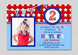 luxury fourth of july invitations card for kids with blue and red color ideas and square shaped card emuroom
