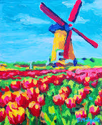 holland painting windmill and tulips by tommy midyette