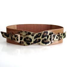 b m c bmc womens faux leather double leopard pattern strap elastic fashion belt com