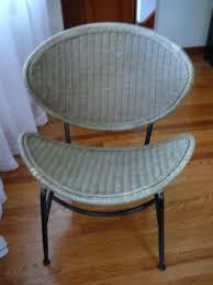 R Midcentury Modern Wicker And Metal Chair