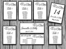 Heart Wedding Seating Chart Template Heart Swirl Flourish