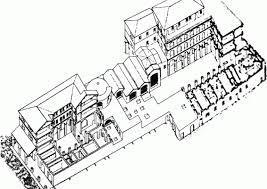 reconstruction drawing by italo gismondi from left to right caseggiato del serapide house of serapides terme dei sette sapienti baths of the seven