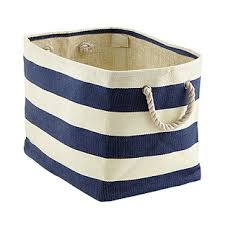 Navy & Ivory Rugby Stripe Storage Bin with Rope Handles