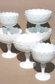 snowy white milk glass compotes lot of vintage indiana glass pedestal bowls