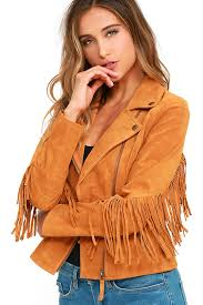 white crow westerner tan suede leather fringe jacket