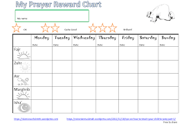 Prayer Chart Template Prayer Reward Chart Islamic Worksheets For Children