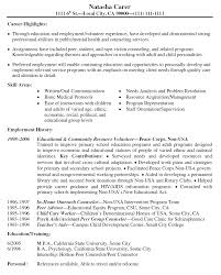 Forms Of Resumes For Volunteer Work Perfect Resume Format