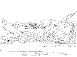 Small Picture Mountain Scene Colouring Pages Coloring Pages Inside Mountain