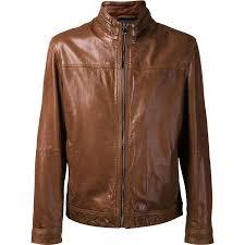 brown color men er leather jacket