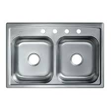 Glacier Bay DropIn Stainless Steel 33 In 4Hole Double Bowl Home Depot Kitchen Sinks Top Mount