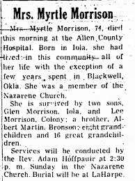 Obituary for Myrtle Morrison (Aged 74) - Newspapers.com