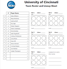 Roster And Lineup Sheet For Ncaa Women