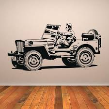 army jeep wall sticker solr car decal boys bedroom home decor art wrangler grill cars and