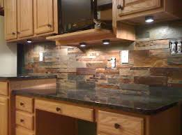 Stone kitchen backsplash dark cabinets Wood Cabinets Natural Stone Slate Kitchen Backsplash Ideas With Lighted Cabinet Loccie Better Homes Gardens Ideas Kitchen Natural Stone Slate Kitchen Backsplash Ideas With Lighted