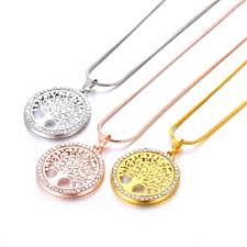 whole tree of life crystal round small pendant necklace gold silver colors bijoux collier elegant women jewelry gifts drop diamond pendants