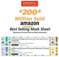 Dermal Korea <b>Collagen Essence</b> Full <b>Face</b> Facial Mask Sheet, 16 ...