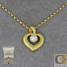 details about mikimoto vintage estate 18k solid yellow gold 5mm pearl pendant necklace