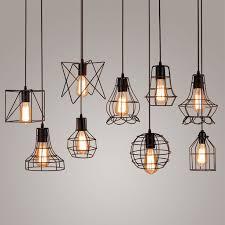 vintage metal cage pendant light hanging lamp edison bulb lighting fixture new loft pendant lamps