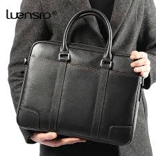 LUENSRO <b>Cow Genuine Leather</b> Briefcase Black <b>Business</b> Men ...