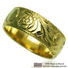 hawaiian jewelry ring ring custom loring 1 5mm thickness 8mm in width 14k gold green gold