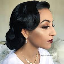 indian bridal makeup hair bride wedding vine up do glam old hollywood