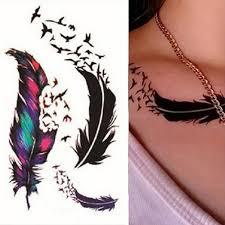 Dámské Vítr Husí Pera Tělo Umění Vodotěsné Dočasné Tetování Samolepka At Vova