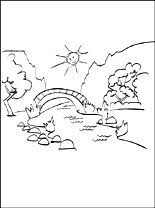 summer landscape coloring page