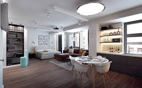adorable studio apartment with wooden flooring small dinning wall decor