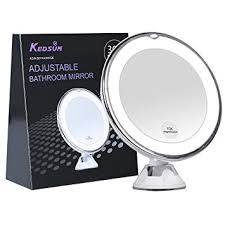 lighted make up mirror. kedsum 6.8\u0026quot; 10x magnifying led lighted makeup mirror,bathroom vanity mirror with strong suction make up