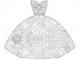 ドレス プリンセス塗り絵のベクトル イラスト